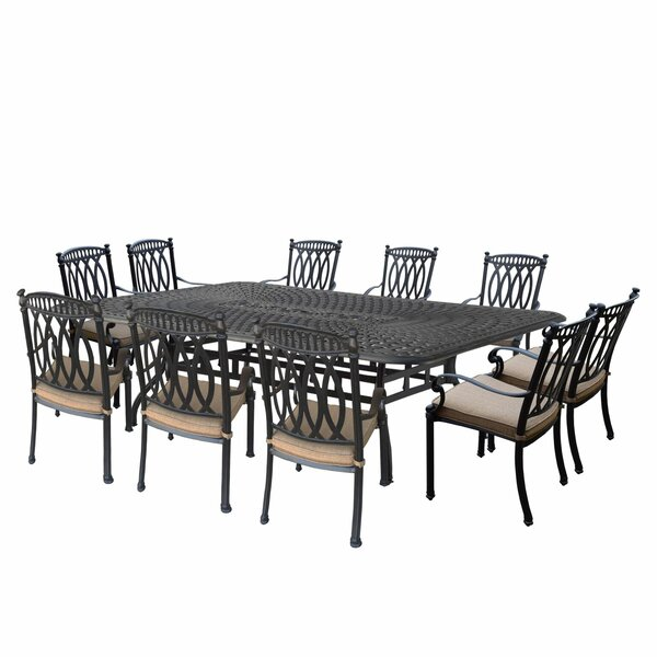 Morocco Aluminum 11 Piece Dining Set with Cushions by Oakland Living