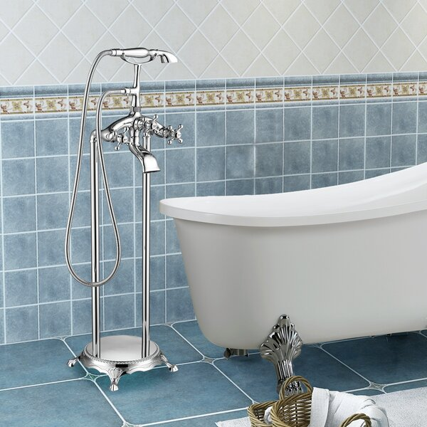 Triple Handle Floor Mounted Clawfoot Tub Faucet Trim With Diverter And Handshower By Vanity Art