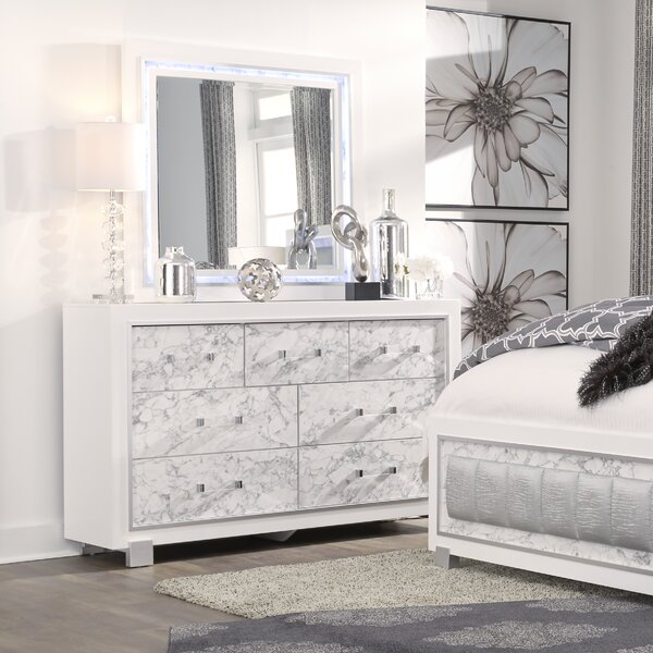 Faria 7 Drawer Dresser with Mirror by Everly Quinn