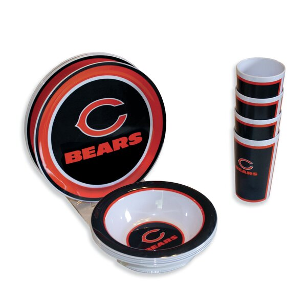 NFL Melamine 12 Piece Dinnerware Set, Service for 4 by MotorHead Products
