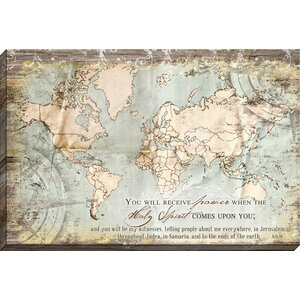 Acts 1:8 Map Giclee Graphic Art on Wrapped Canvas by Carpentree