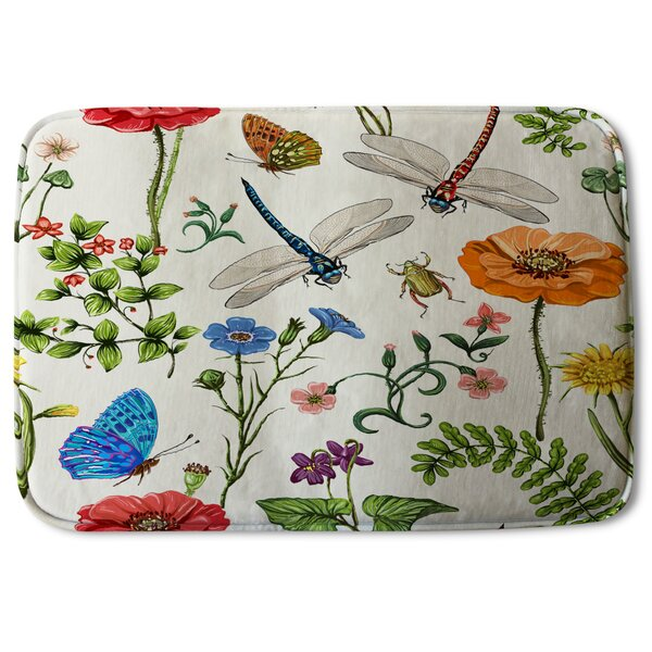 Colgate Flowers and Insects Designer Rectangle Non-Slip Floral Bath Rug