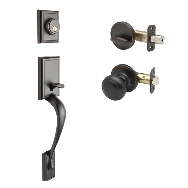 Fashion Single Cylinder Handleset with Colonial Interior Knob Trim by Copper Creek