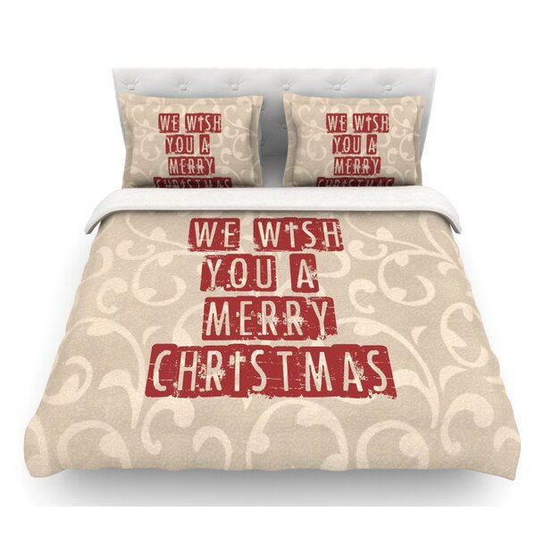 We Wish You a Merry Christmas by Sylvia Cook Holiday Featherweight Duvet Cover by East Urban Home
