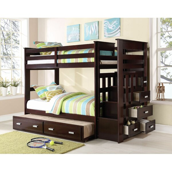 Eades Kids Twin Over Twin Bunk Bed with Trundle and Drawers by Harriet Bee