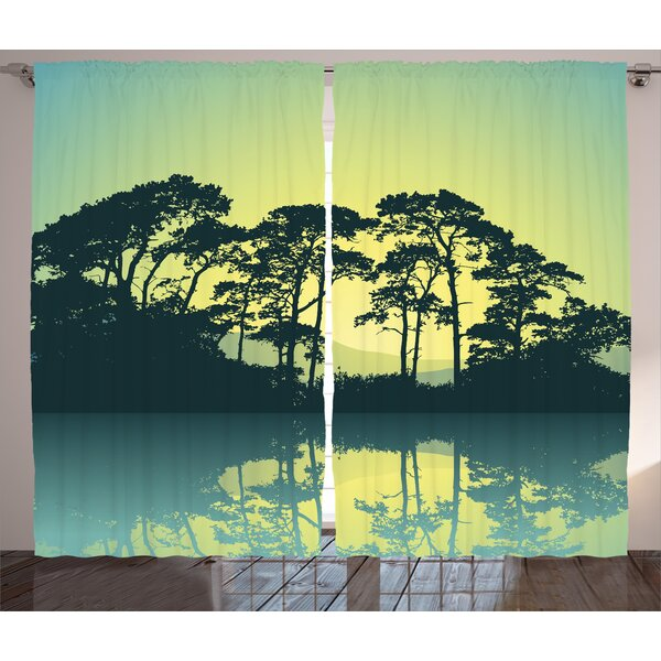 Wabe Graphic Print and Text Semi-Sheer Rod Pocket Curtain Panels (Set of 2) by World Menagerie