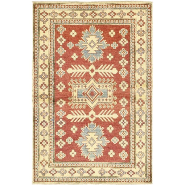 One-of-a-Kind Dia Hand-Knotted Wool Red/Ivory Indoor Area Rug by Isabelline