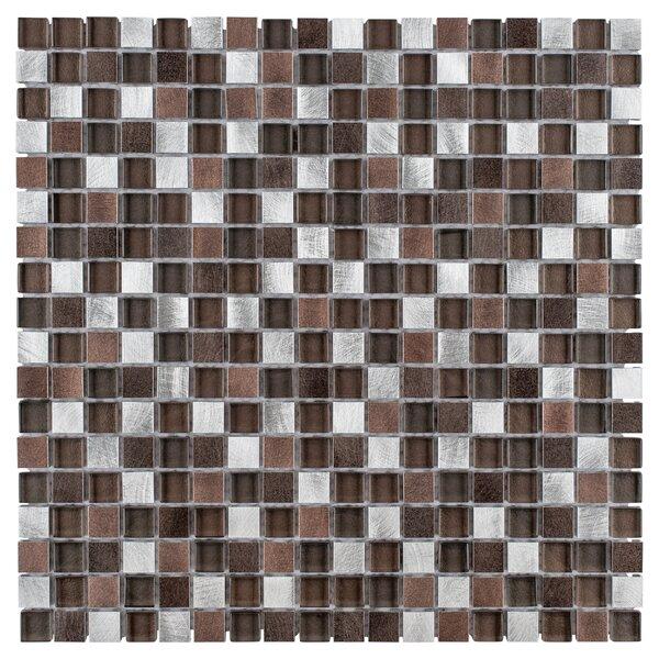 Commix 1 x 1 Glass/Aluminum Mosaic Tile in Noir by EliteTile