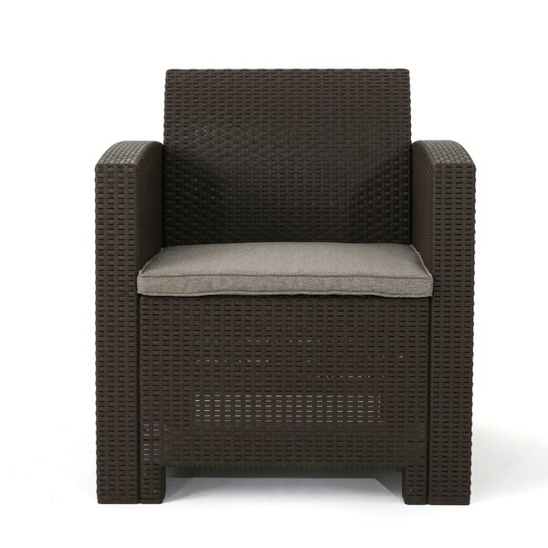 Lundell Wicker Patio Chair with Cushions (Set of 4) by Ivy Bronx