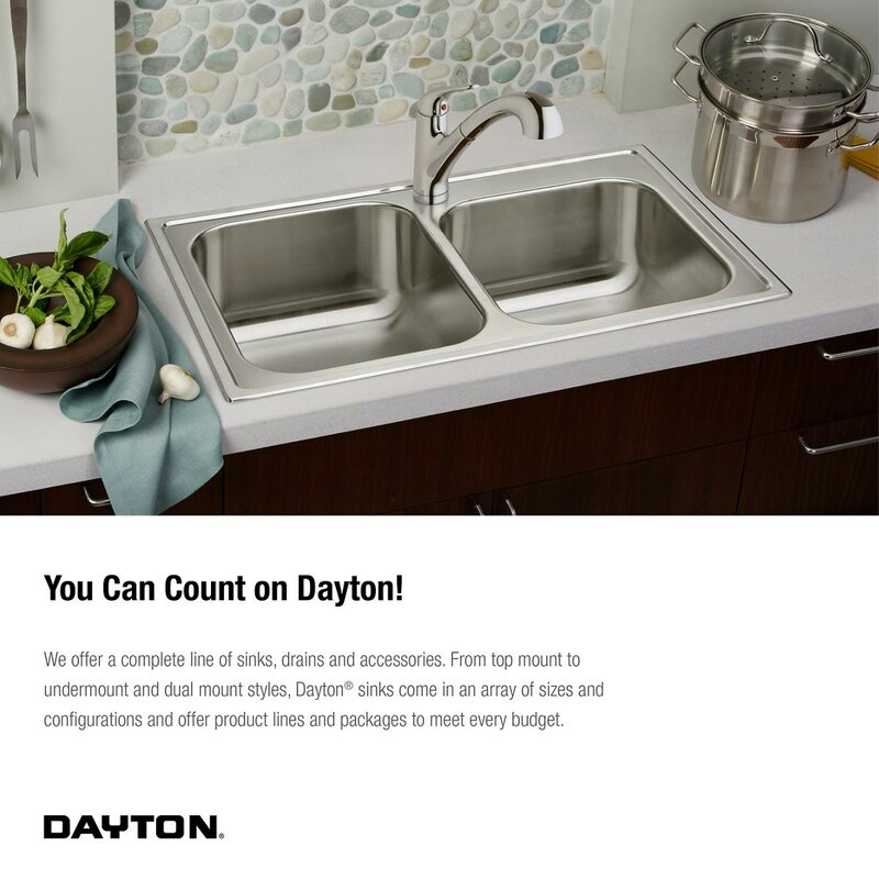 dayton 33   x 19   double basin drop in kitchen sink elkay dayton 33   x 19   double basin drop in kitchen sink  u0026 reviews      rh   wayfair com
