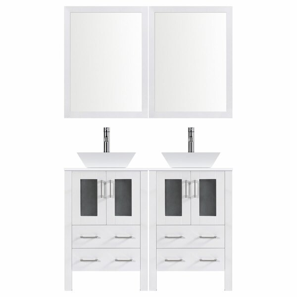 Modern 60 Double Bathroom Vanity Set with Mirror by LessCare