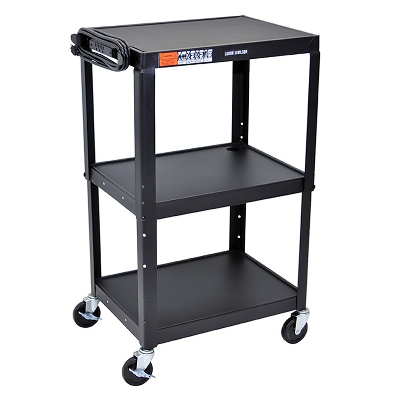 Exceptional Multipurpose Mobile Adjustable Height 3 Shelves Metal Rolling Storage Cart