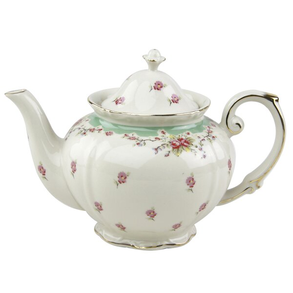Hemby 1.25-qt. Green Rose Porcelain Teapot by Lark Manor