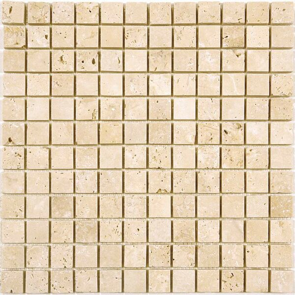1 x 1 Travertine Mosaic Tile in Ivory by Ephesus Stones
