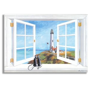'Pigeon Point Lighthouse Faux Window Scene' Print On Wood by Beachcrest Home
