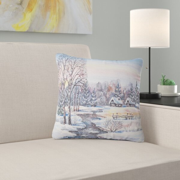 Landscape Photography Russian Winter Village Pillow by East Urban Home