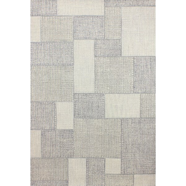 Lewiston Hand-Tufted Wool Ivory/Silver Area Rug by Gracie Oaks