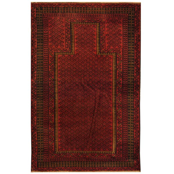 One-of-a-Kind Cuellar Balouchi Hand-Knotted Wool Red Area Rug by World Menagerie