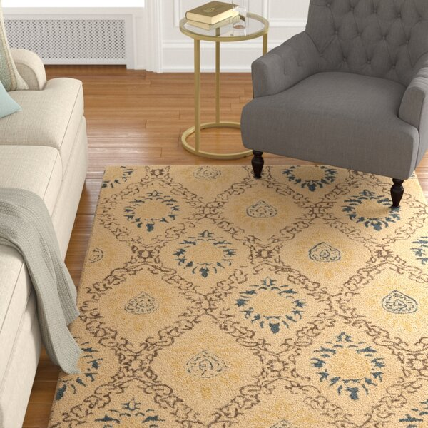 Dunbar Light Gold/Multi Area Rug by Charlton Home