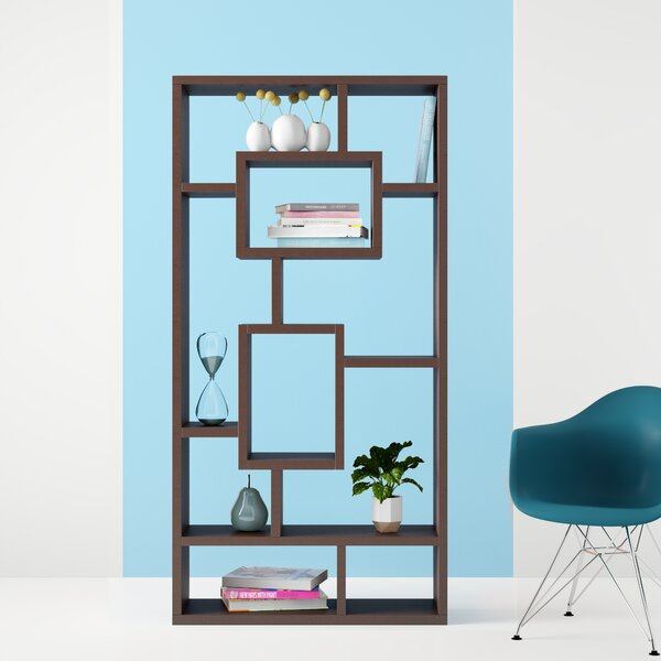 Review Safi Rectangular Geometric Bookcase