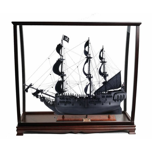 Gunnar Black Pearl Pirate Ship with Table Top Display Case by Longshore Tides
