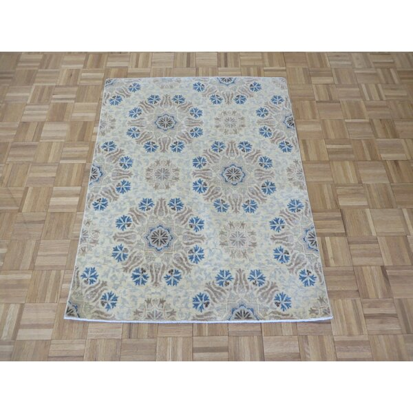 One-of-a-Kind Railsback Khotan Oushak Hand-Knotted Wool Beige Area Rug by Astoria Grand
