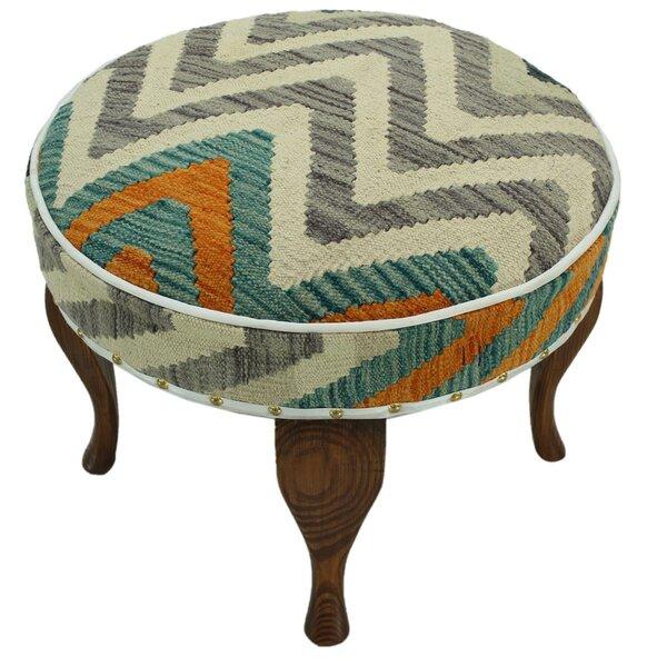 Stripling Kilim Upholstered Handmade Ottoman by Bloomsbury Market
