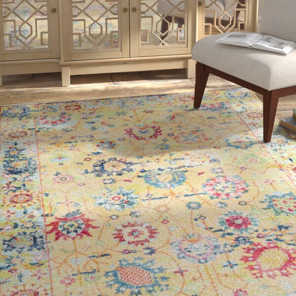 Tillamook Silk Vintage Floral Bright Yellow/White Area Rug by Bungalow Rose