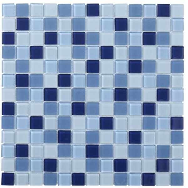 Montreal 0.9 x 0.9 Glass Mosaic Tile in Blue by The Mosaic Factory