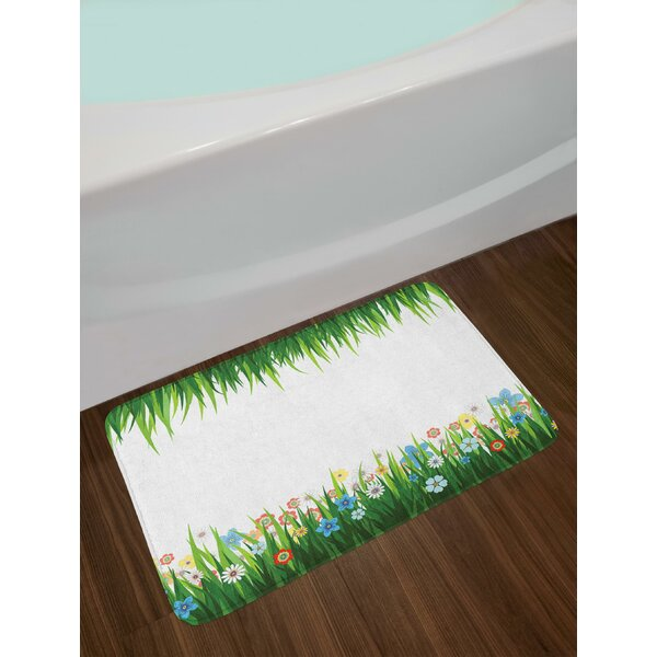 Nature Illustration with Grass and Flowers Countryside Meadow Abstract Foliage Bath Rug by East Urban Home