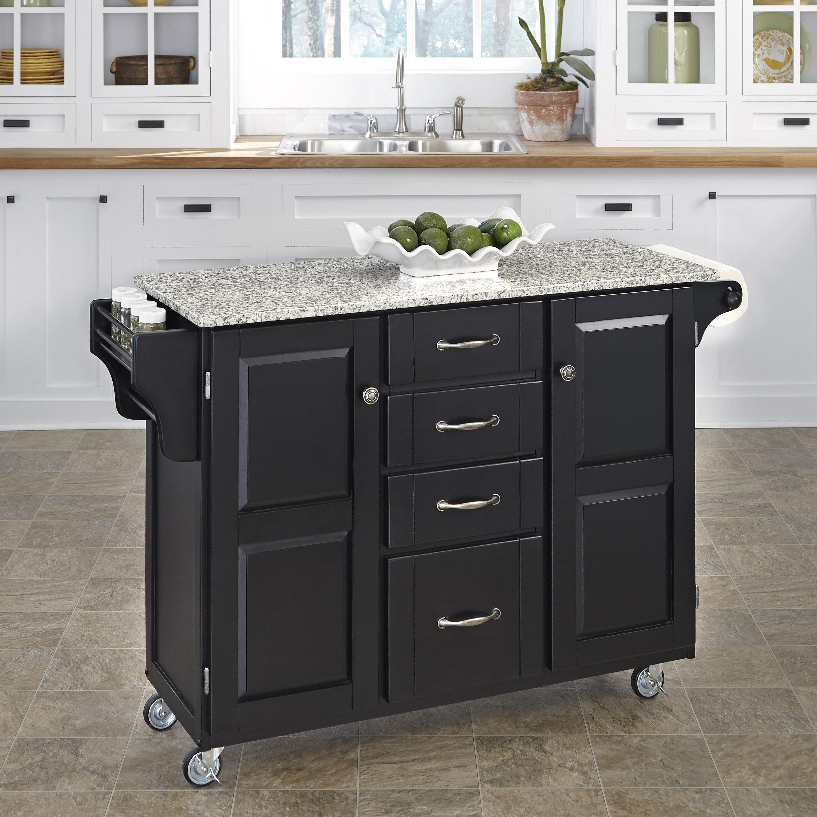 Legler-a-Cart Kitchen Island with Granite Top