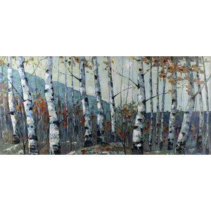 Autumn Birch Forest by I.Kite. Painting Print on Wrapped Canvas by Hobbitholeco.