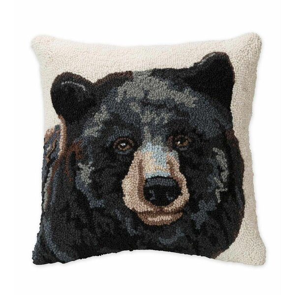 Bear Hand-Hooked Wool Throw Pillow by Plow & Hearth
