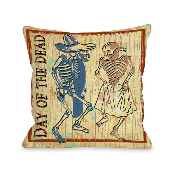 Day of The Dead Dancing Skeletons Throw Pillow by One Bella Casa