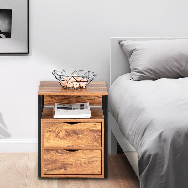 Danford 2 - Drawer Metal Nightstand in Black/Brown by Loon Peak Loon Peak