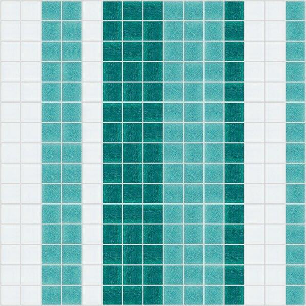Urban Essentials Varied Stripes 3/4 x 3/4 Glass Glossy Mosaic in Deep Teal by Mosaic Loft