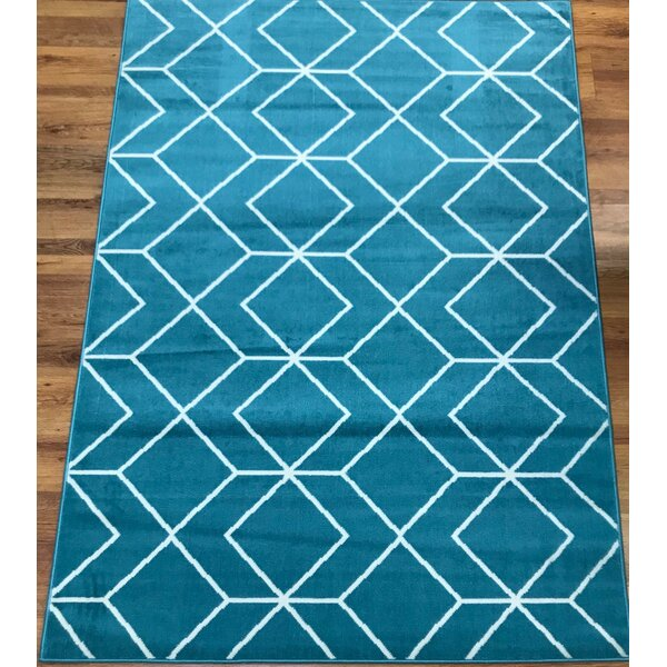 Abdo Kashan King Blue Area Rug by Wrought Studio