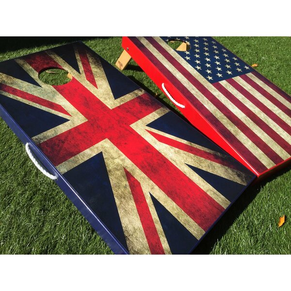 American and UK Flag 10 Piece Cornhole Set by West Georgia Cornhole
