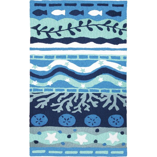 Bemelle Bay Hand-Hooked Blue Indoor/Outdoor Area Rug by Highland Dunes