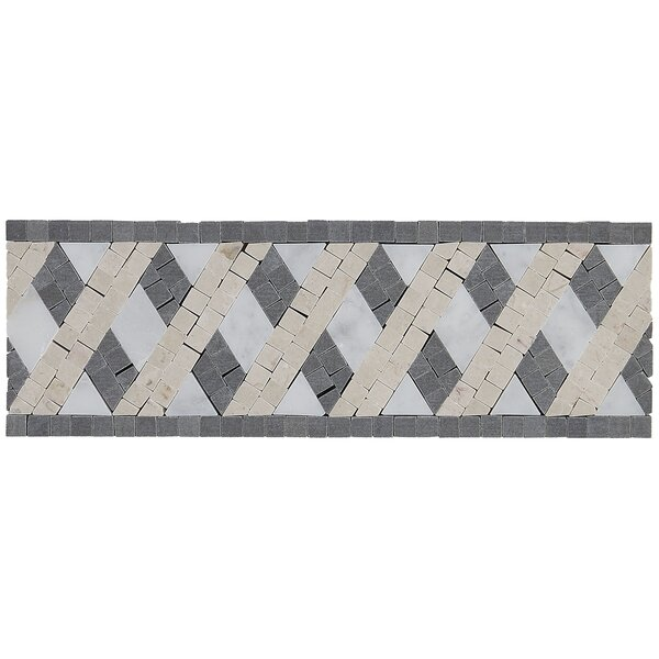 Morrison 4 x 12 Natural Stone Decorative Accent Tile in Lattice Blend by Itona Tile