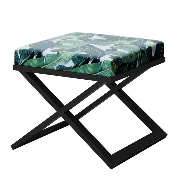 Ahumada Tropical Leaf Beverly Hills Hotel Contemporary Vanity Stool by Everly Quinn