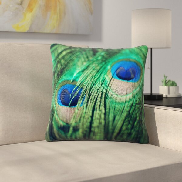 Peacock Feathers Outdoor Throw Pillow by East Urban Home