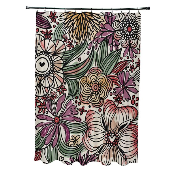 Natahsa Zentangle Floral Print Shower Curtain by Latitude Run