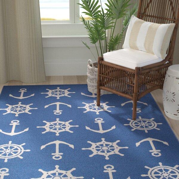 Jessa Nautical Schooner Blue/White Indoor/Outdoor Area Rug by Breakwater Bay