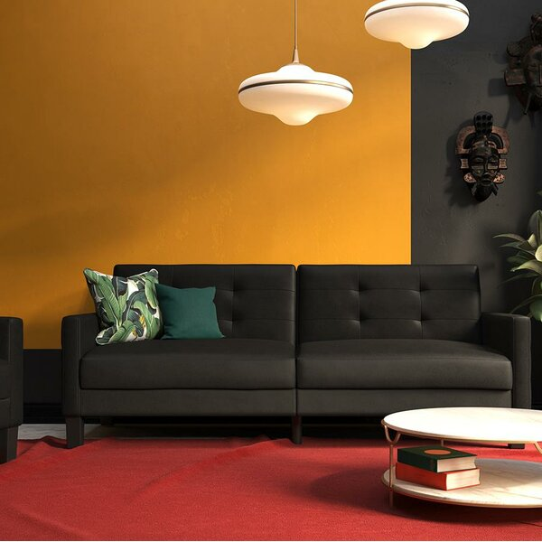 Anabelle Faux Leather Convertible Sofa by Ebern Designs