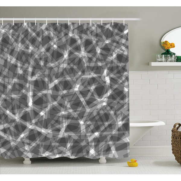 Grunge Haze Digital Display with Fractal Pieces Parts Lines Contemporary Bents Shower Curtain Set by East Urban Home