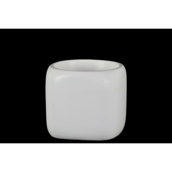 Zita Ceramic Round Pot with Double Wall SM Pot Planter by Ivy Bronx