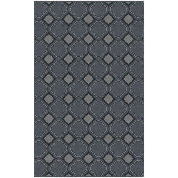 Fitz Trellis, Moroccan Lattice Inspired Dusty Blue Area Rug by Wrought Studio