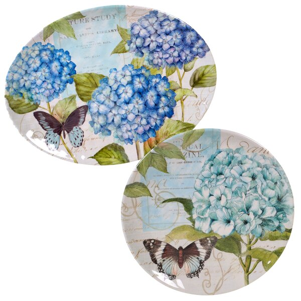 Marquis Hydrangea 2 Piece Melamine Platter Set by Ophelia & Co.