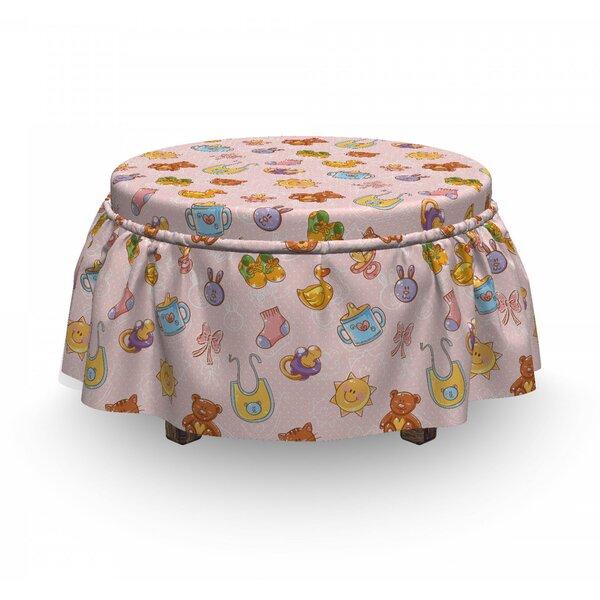 Baby Infant Toys Cat Cartoon 2 Piece Box Cushion Ottoman Slipcover Set By East Urban Home